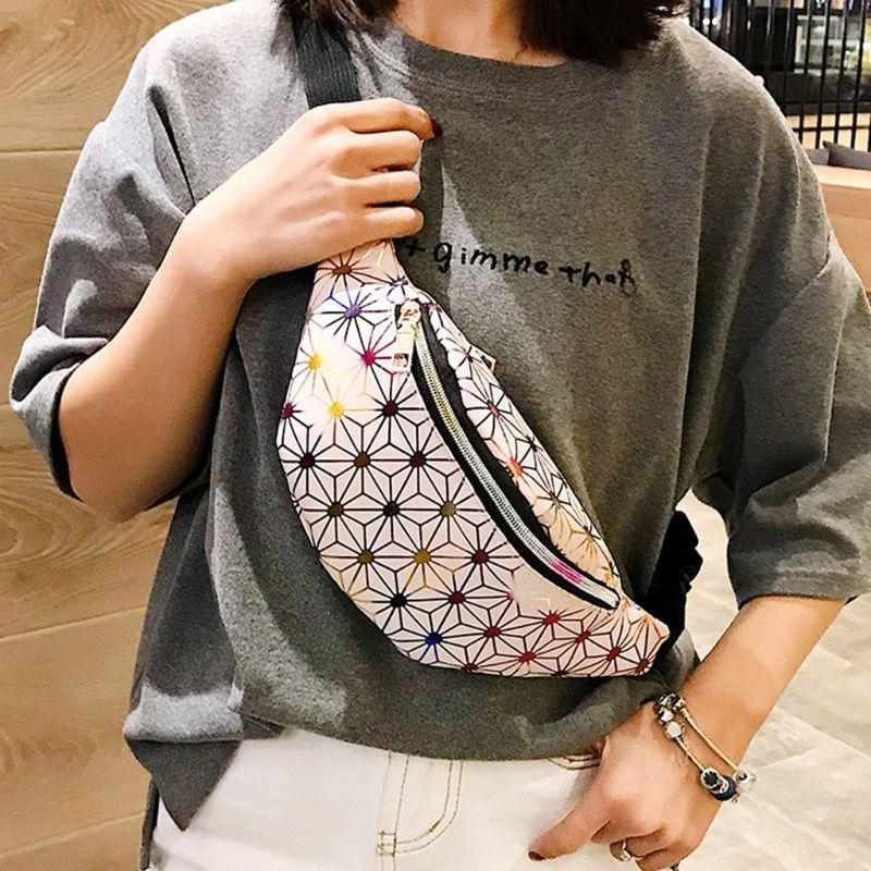 Women Faux Leather Fanny Pack Shiny Gradient Hologram Waist Bag Geometric Pattern Rock Chest Shoulder Crossbody Purse