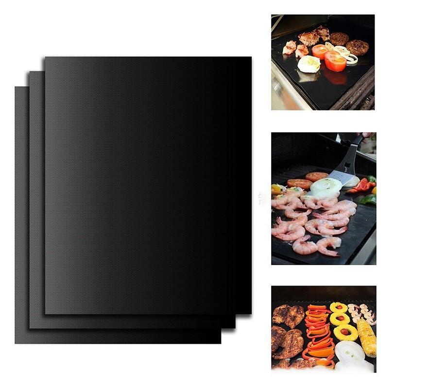 BBQ Grill Mat Portable Non-stick And Reusable Make Grilling Easy 33*40CM Black Oven Hotplate Mats Barbecue Tool EEA86