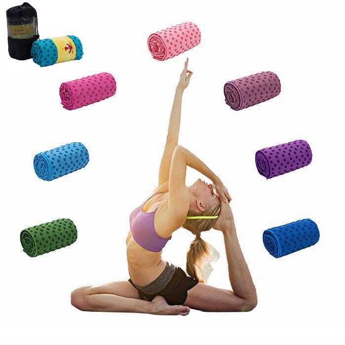 7 colores estera de yoga Toalla Manta antideslizante de la superficie de microfibra con silicona puntos de altura de humedad de secado rápido Alfombras Yoga alfombrillas CCA11711 A-50pcs