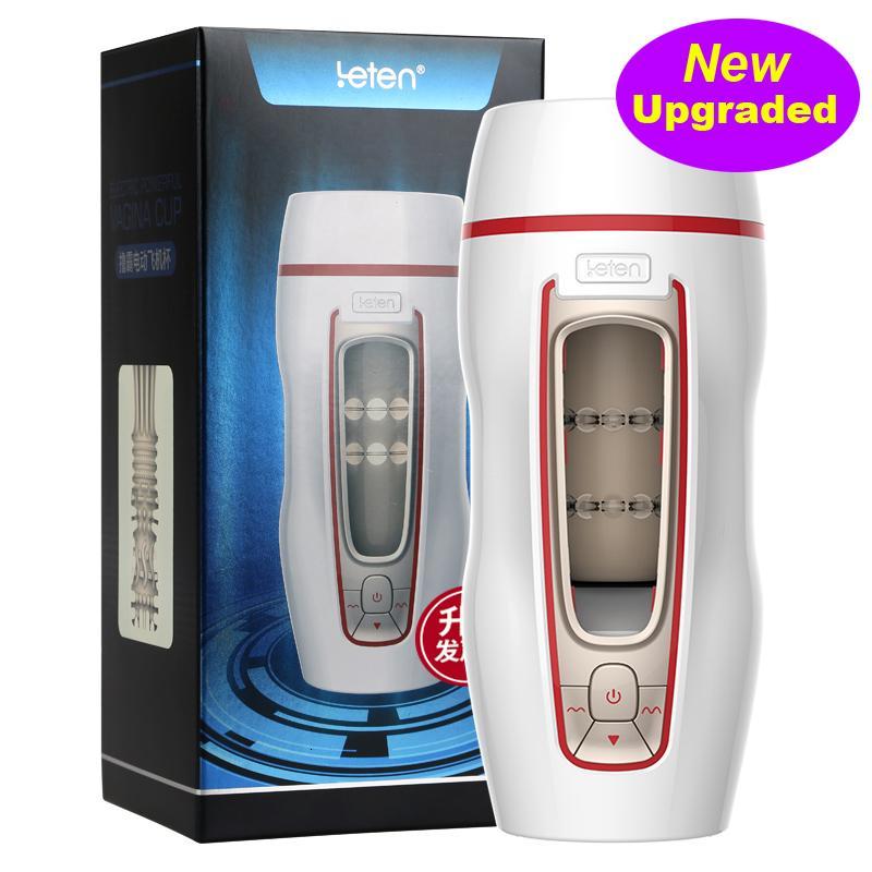 Leten Automatic Electric Piston MannesMasturbator 4D Simulation Vagina 7 Thrusting intelligente Stimme Induction Sexspielzeuge für Erwachsene Männer Y191010
