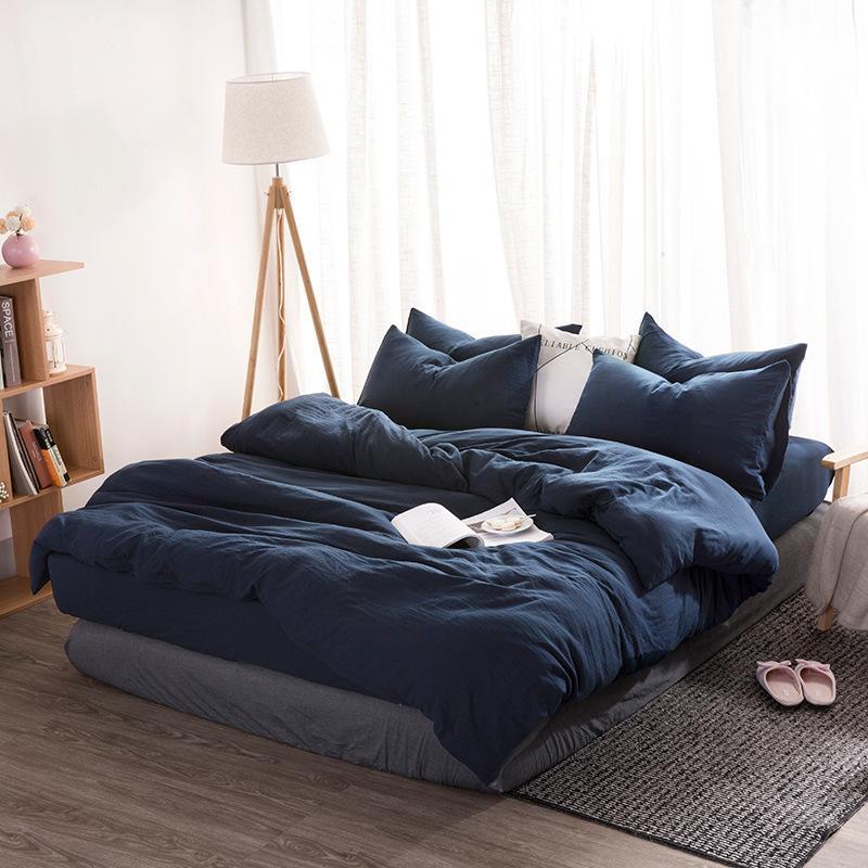 WASHED Baumwollbettwäsche Set Solide Bettbezug Set Weiche graue Bettwäsche Japanischer Stil Home Bett Super King Size Bettwäsche Bett Set 201120