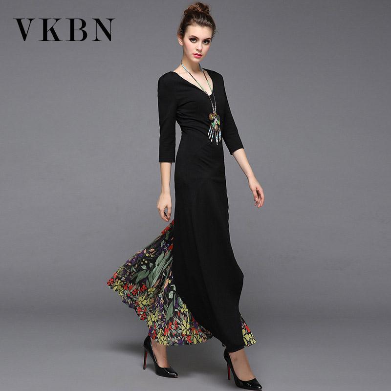 VKBN Summer Dress 2020 Patchwork Printing Irregular Dresses Woman V-Neck Party Dress Elegant Vestidos De Fiesta
