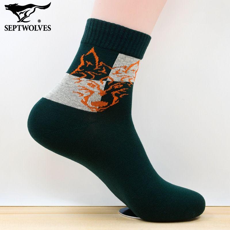 Sept 5Jvpw d'automne et coton et sockswinter chaussettes pour hommes sport déodorant mode sudoripares absorbant les loups chaussettes en coton épais de remise en forme en cours d'exécution