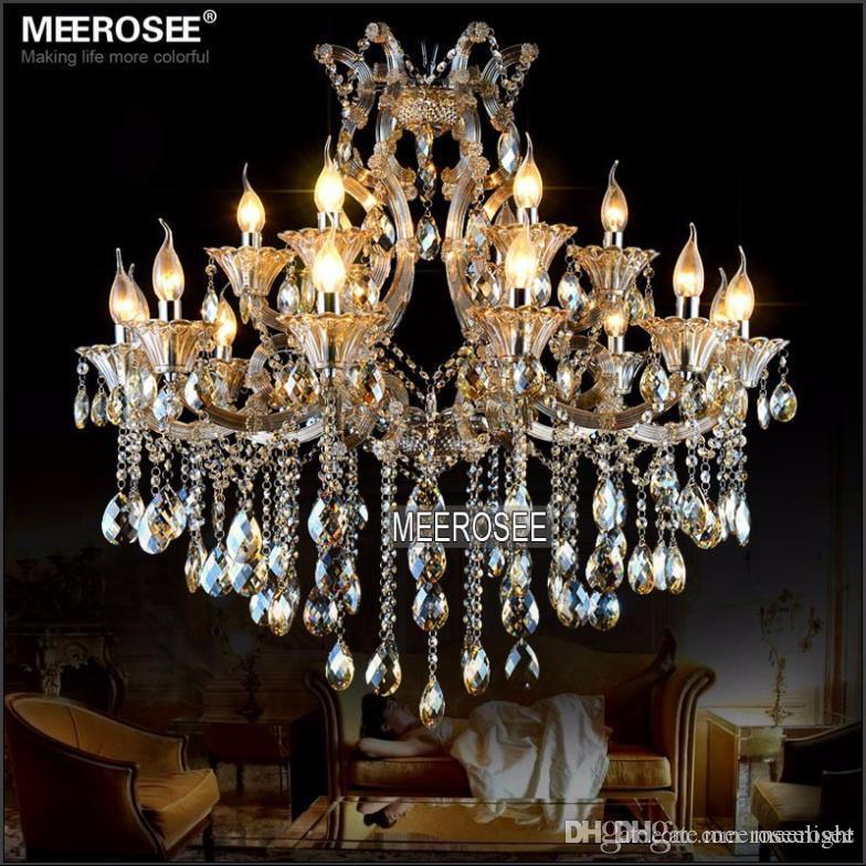 Modern Maria Theresa Crystal Chandelier Light Cognac LED Crystal Lustre 18 Light Lamp for Lobby Stair Hallway project MD2225