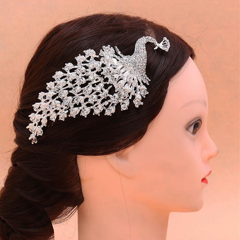 Bride Traditional Chinese Wedding Hair Jewelry Accessories Crystal Rhinestone Peacock Bridal Hair Combs Bride Headdress LB