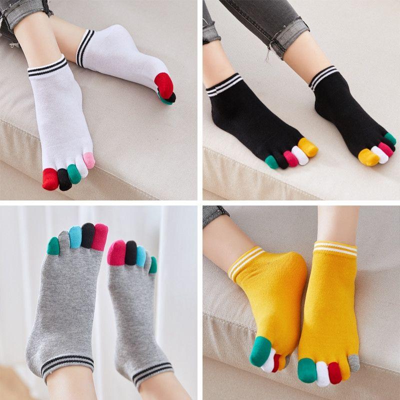 4 Pairsset Fünf-Finger-Socken Damen-Baumwolle Bunte Finger Schöne Short Rohr Split Toe Damen Unterwäsche Unterwäsche Socken