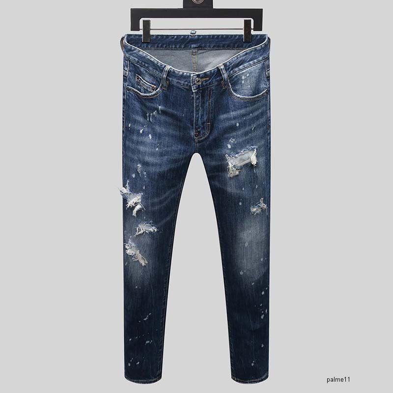 dsquared2 jeans ds2 QSQ Dsquared2 الرجل مصمم الجينز الفاخرة أسلوب الهيب هوب نحيل ممزق السراويل أفضل نسخة البحرية القديمة الأزياء إيطاليا العلامة التجارية دراجة جديدة