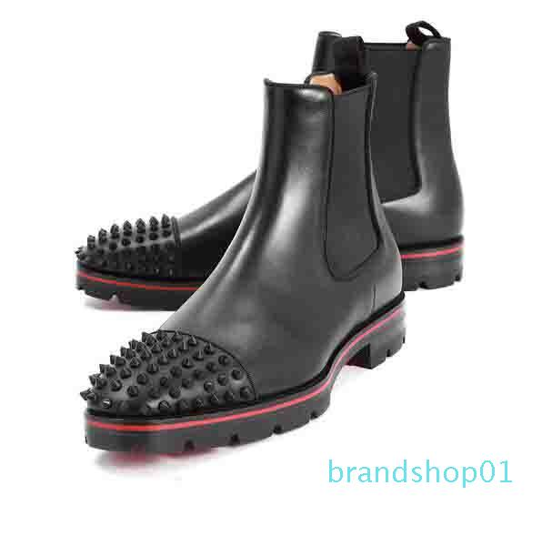 Italy Fashion Top Design Red Bottom Boots Men's Motorcycle Boots ankle boot for men Spiked Thick Soles Red Sole sneaker men boot spikes 01
