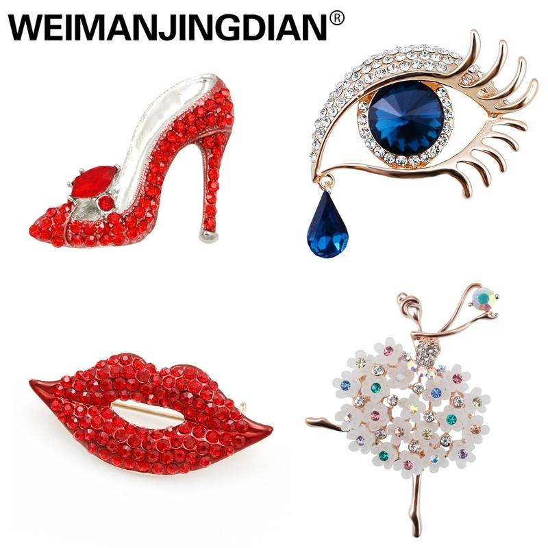 Weimanjingdian Brand New Arrival Assorted Girl's Favors Lips / High Heel / Eye / Dancing Fashion Brooch Pins Collections T190622