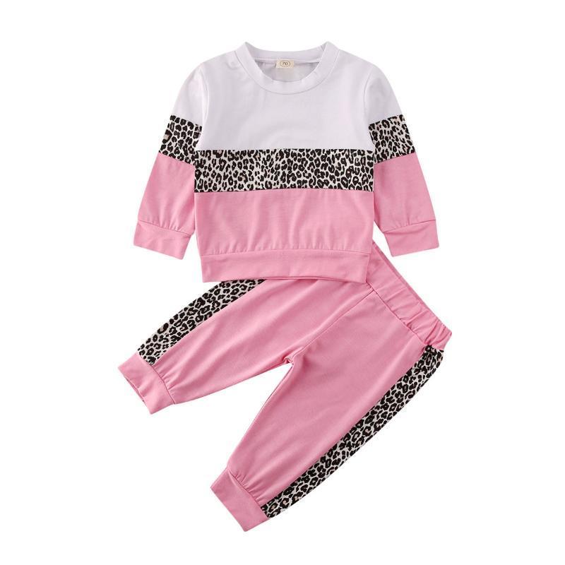 1-5years малышей Kid Baby Girl Одежда Футболка Топ Брюки Leopard Эпикировка Tracksuit Set