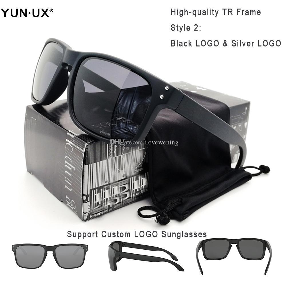TOP Качество Мода поляризованные очки Мужчины черный TR90 кадров Серый объектива травление Y91-02 Лидирующий очки свободной перевозкы груза Customized