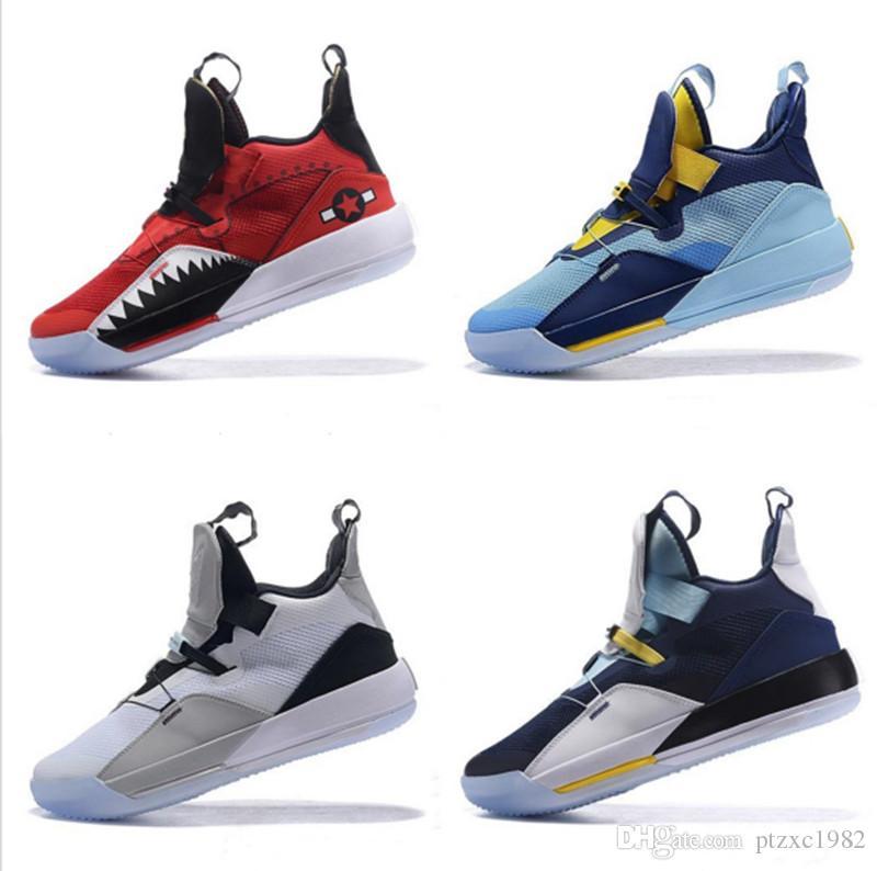 2019 Yeni Jumpman XXXIII 33 Erkek Basketbol Ayakkabı Yüksek kaliteli 33s Multicolors Siyah Beyaz Mavi Sarı Eğitmenler Sneakers Boyut 40-46