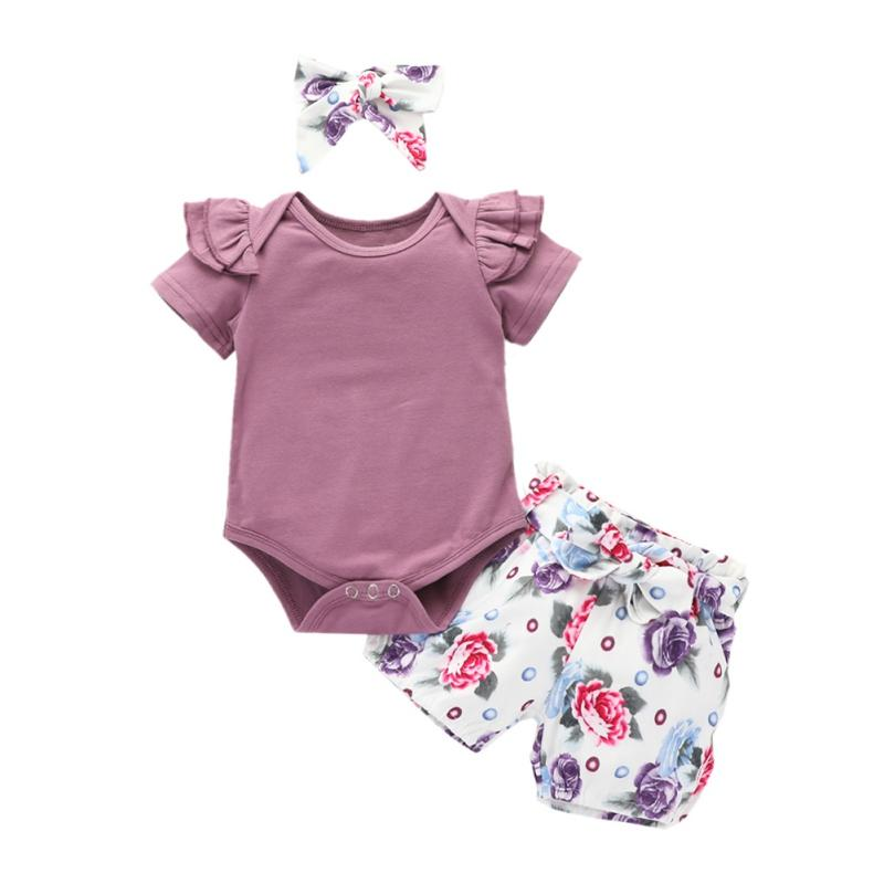 Short Sleeve Bodysuits Cotton Cute Floral Shorts Summer Clothing 2pcs Newborn Infant Baby Girls Clothes Sets Tops