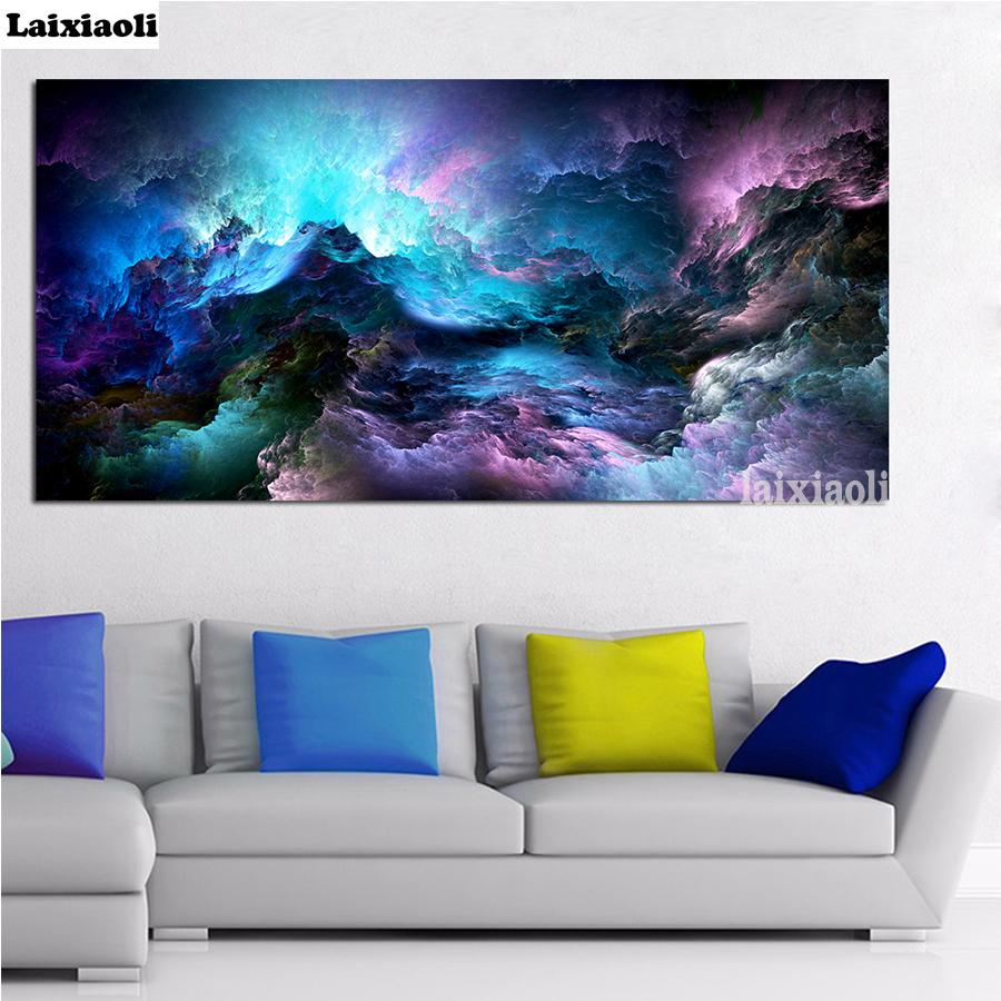 Large Size diamond embroidery Cloud Abstract Colorful picture of rhinestones full square round drill diamond painting mosaic art