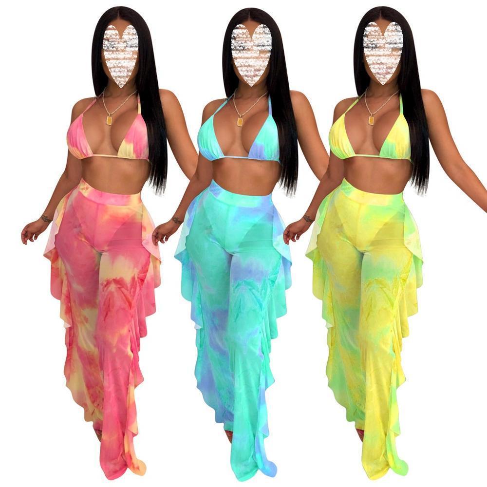 Женщины Лето Два Бюстье Printed сетки Холтер бюстгальтер Backless жилет + Ruffles Длинные брюки Lady Sexy Сетки Эпикировка лета женщин Комплекты T200608