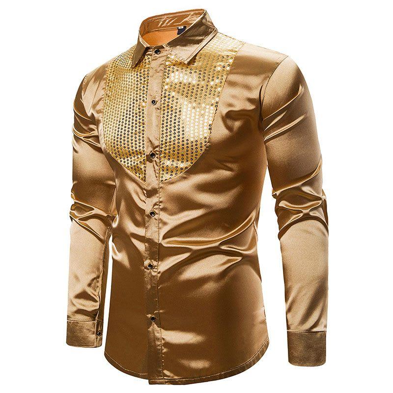 Mens lisse en satin de soie Chemise d'or Sequin chemise de smoking Parti robe de mariée stade Performance Shirts Dance Club XXL Chemise Homme