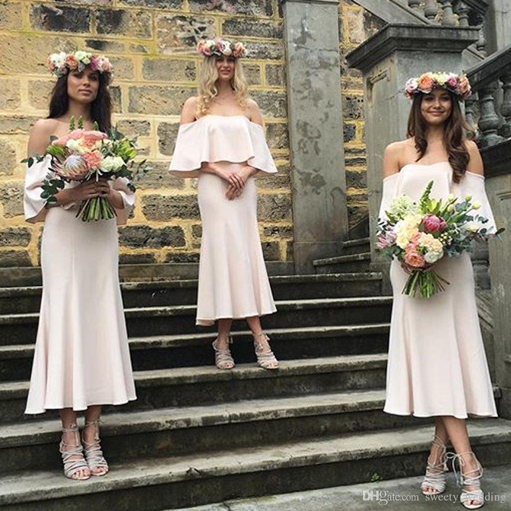 2019 robes de demoiselle d'honneur d'été bohème épaule Blush rose mousseline de soie longueur de cheville longueur Plus taille femme de ménage d'honneur mariage robes de soirée invité