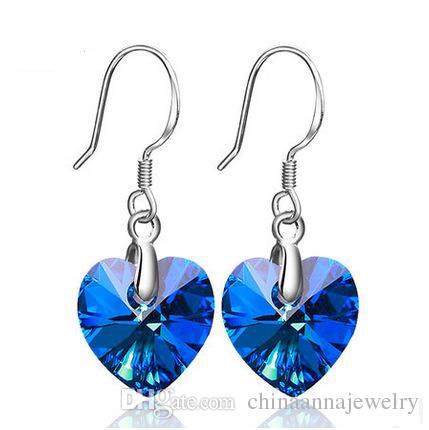 Women Classic design Jewelry Design Earrings Blue Crystal Rhinestone 925 Sterling Silver Crystal Diamond Womens hook Earring