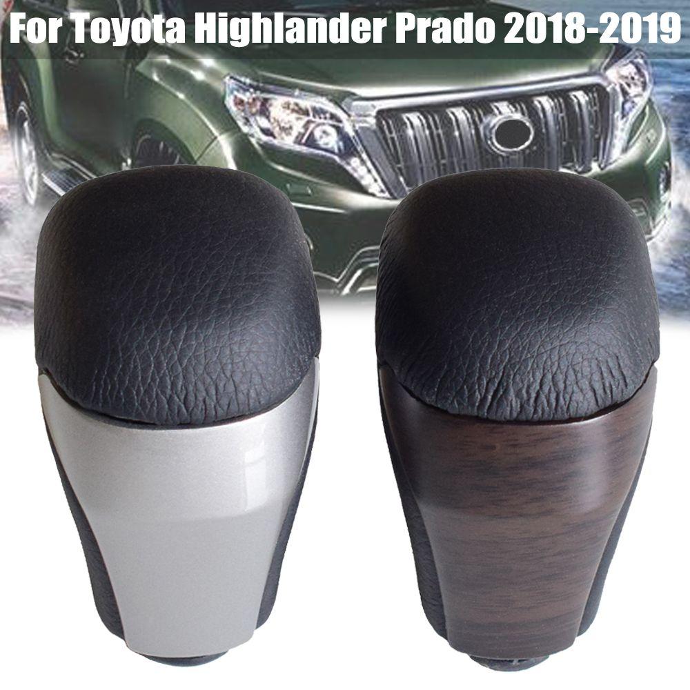 Yüksek kaliteli Ceviz Araba AT vites topuzu Çubuk Kol Hentbol Fit For Toyota Highlander Prado 2018-2019 Gerçek Deri Araba Şekillendirme