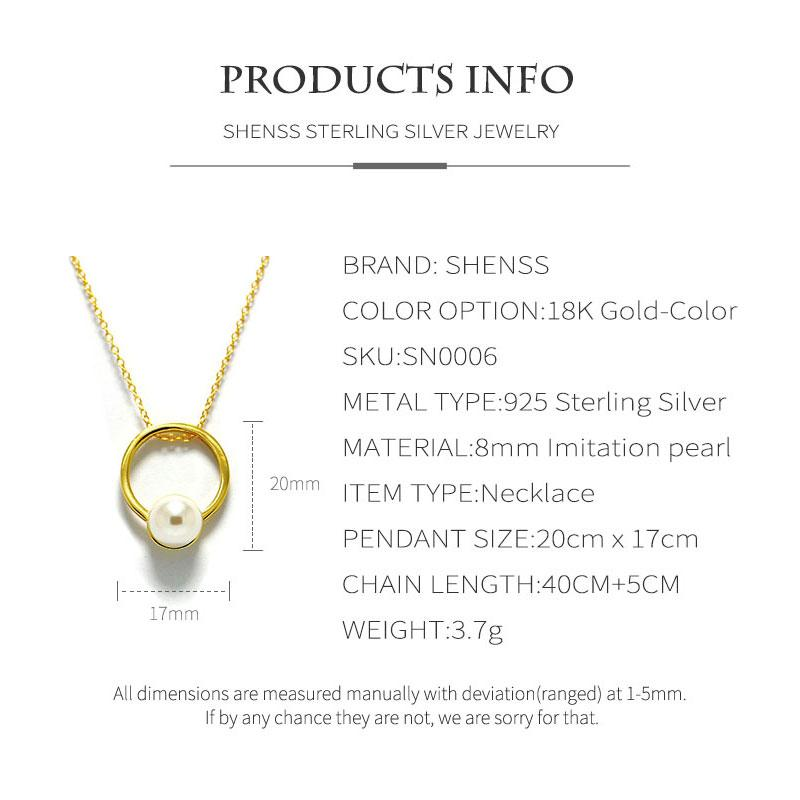 Silver 925 Jewelry US Fashion Pearl Round Necklace S925 Sterling Silver Women Gold 18K