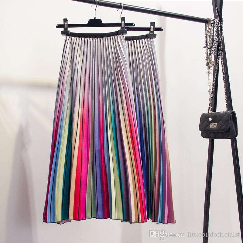 Moda Kontrast Yüksek Bel Pileli Etek 2019 İlkbahar Yaz Etekler Bayan Elastik Bel Bir Çizgi Midi Etek Orta Buzağı Uzun Etekler