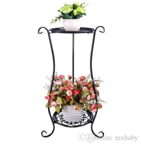 الحديد الفن متعدد الطبقات شرفة وعاء النبات حامل بسيط داخلي outdoor gardenpot قاعدة حامل الشلف حديقة ديكور 2 ألوان