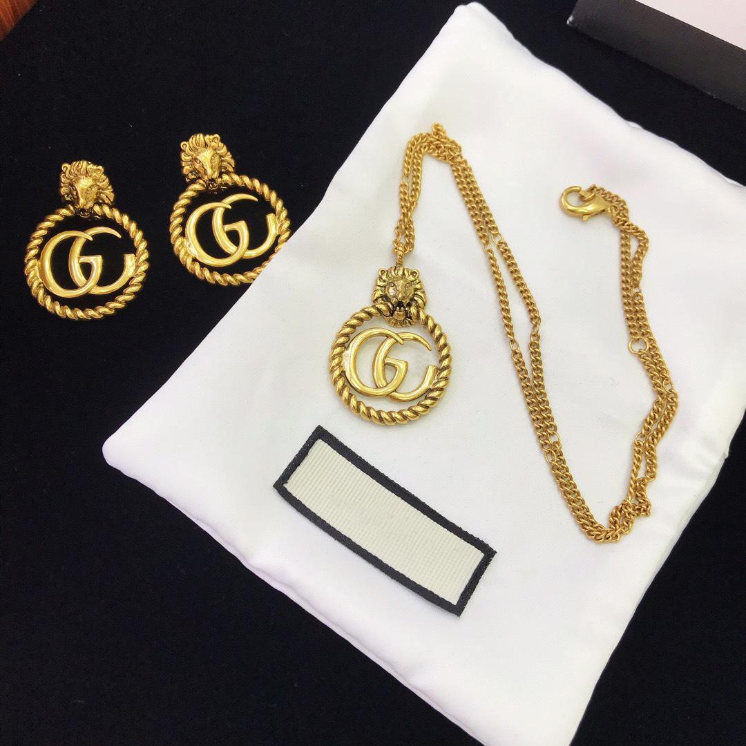 2020 Nouvelle arrivée boucles d'oreilles chaîne matériau en laiton avec lion forme de la tête pour le cadeau bijoux pendentifs homme collier de mariage Livraison gratuite