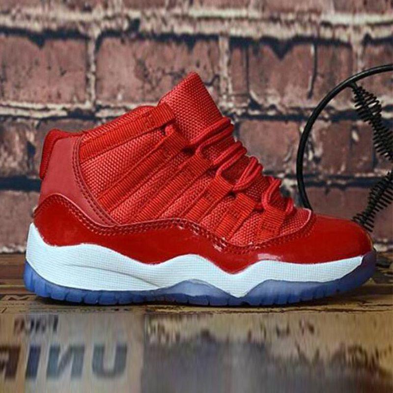Bred XI 11S أطفال أحذية كرة السلة رياضة الأحمر الرضع الأطفال طفل جاما الأزرق كونكورد 11 المدربين الصبي فتاة TN أحذية رياضة الفضاء