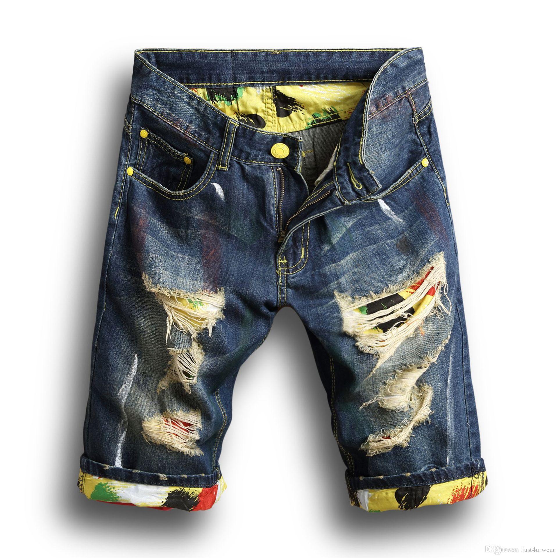 Moda Hombre Denim Jeans para hombre delgado Pantalones rectos tendencia diseñador de los pantalones del nuevo verano agujeros para hombre pantalones cortos de mezclilla