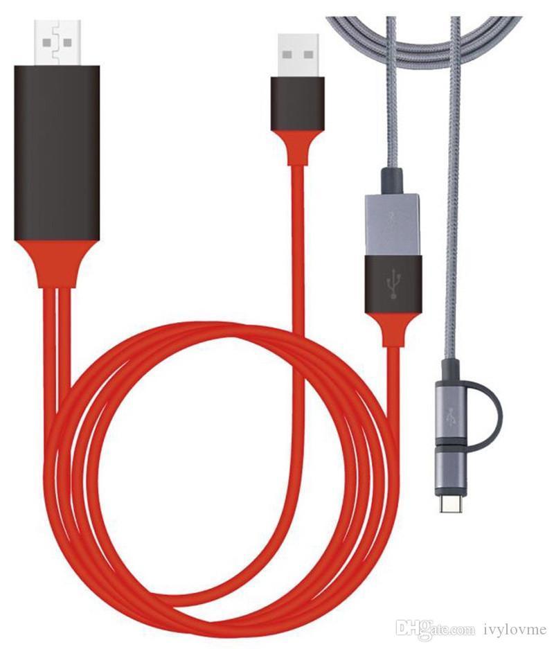 العالمي كابل HDMI PLUG AND PLAY HDMI HDTV محول التلفزيون الرقمي AV كابل 1080P الهاتف إلى التلفزيون USB 2.0 TO نوع C مايكرو 5PIN 1M صفقة