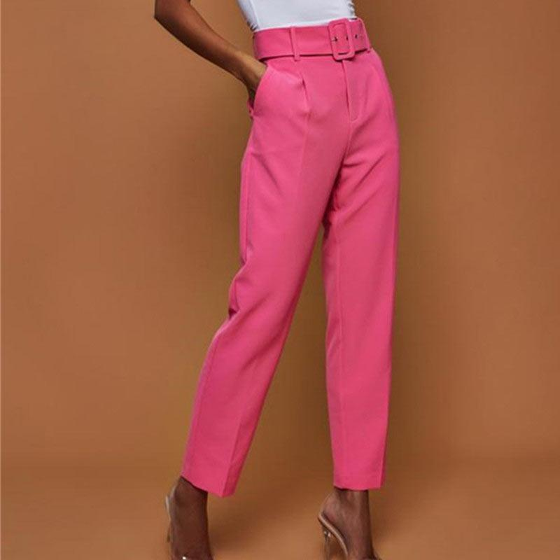 المرأة عارضة السراويل عالية الخصر الخريف مربوط مستقيم الساق بنطلون مكتب سيدة البدلة السراويل النساء السراويل
