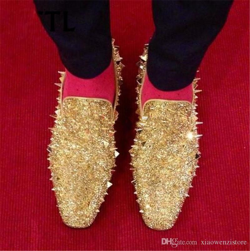 release date so cheap special for shoe Runway Shinning Studs Men Dress Shoes Slip On Gold Spike Shoes ...