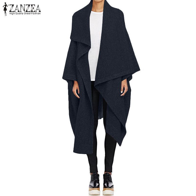 Cappotti di lana Capo donne Poncho 2019 ZANZEA Autunno Lungo Trench Moda risvolto del collo Cardigan Giacche Femminile Casaco Top oversize
