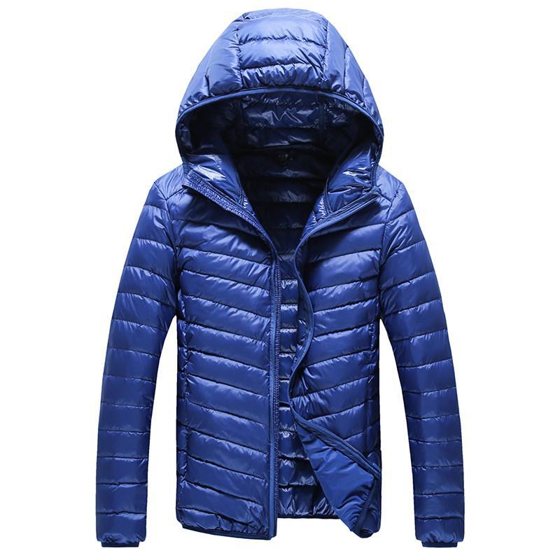 2019 Nueva moda de alta gama capucha para hombres Pluma la chaqueta con capucha para hombre de color puro Boutique Feather Down capa fina de luz chaquetas