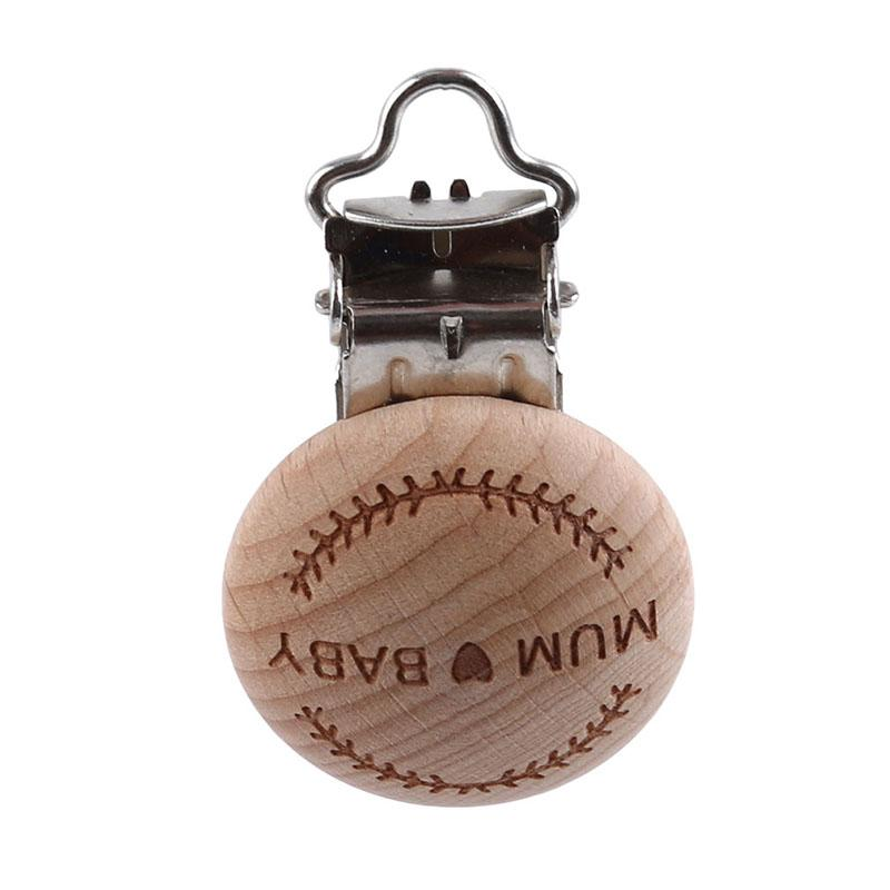 Wooden Engraved Baby Clips Pacifier Holder Cartoon Beech Wood Baby Pacifier Clips Lovely Clip BPA Free