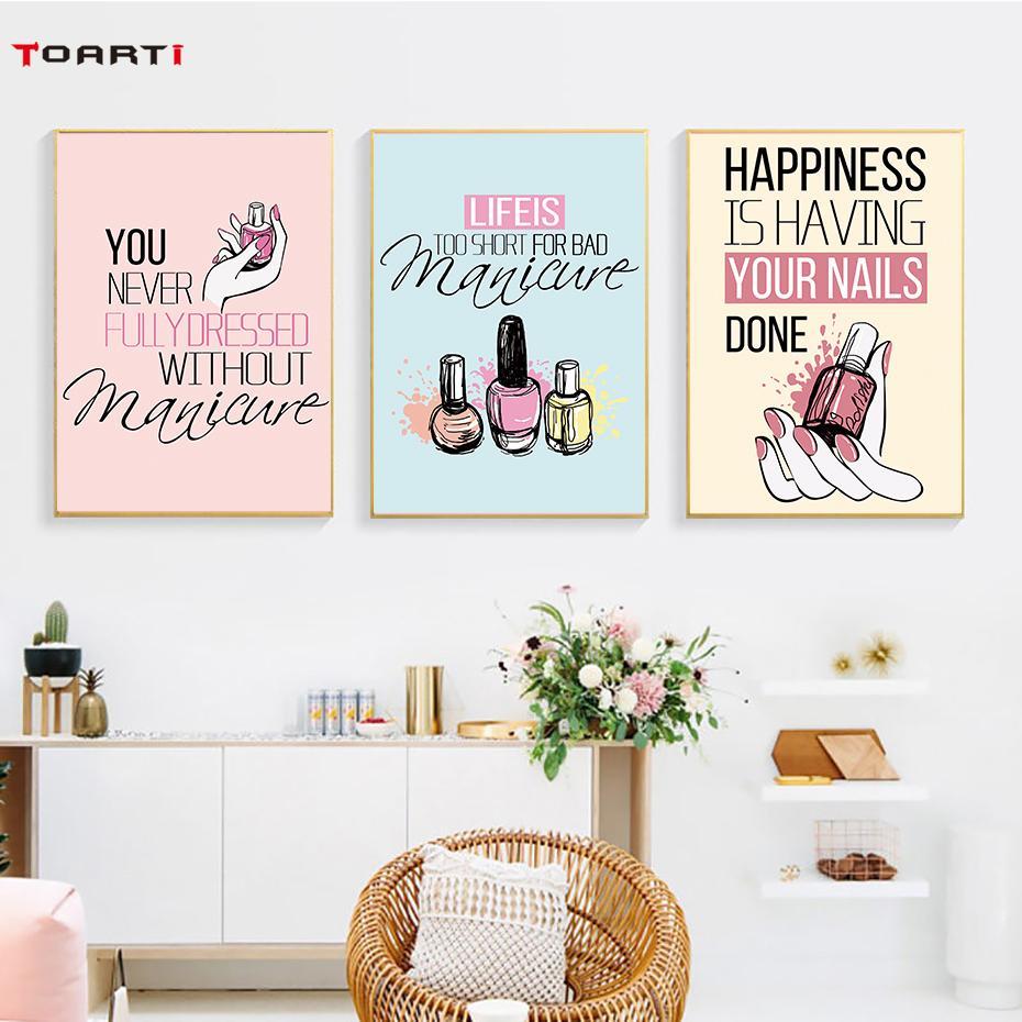 moderne Nail Polish Zitate-Wand-Kunst Leinwand Nordic Poster Malerei und Kunstdruck Salon Wandbilder für Mädchen-Zimmer-Hauptdekor