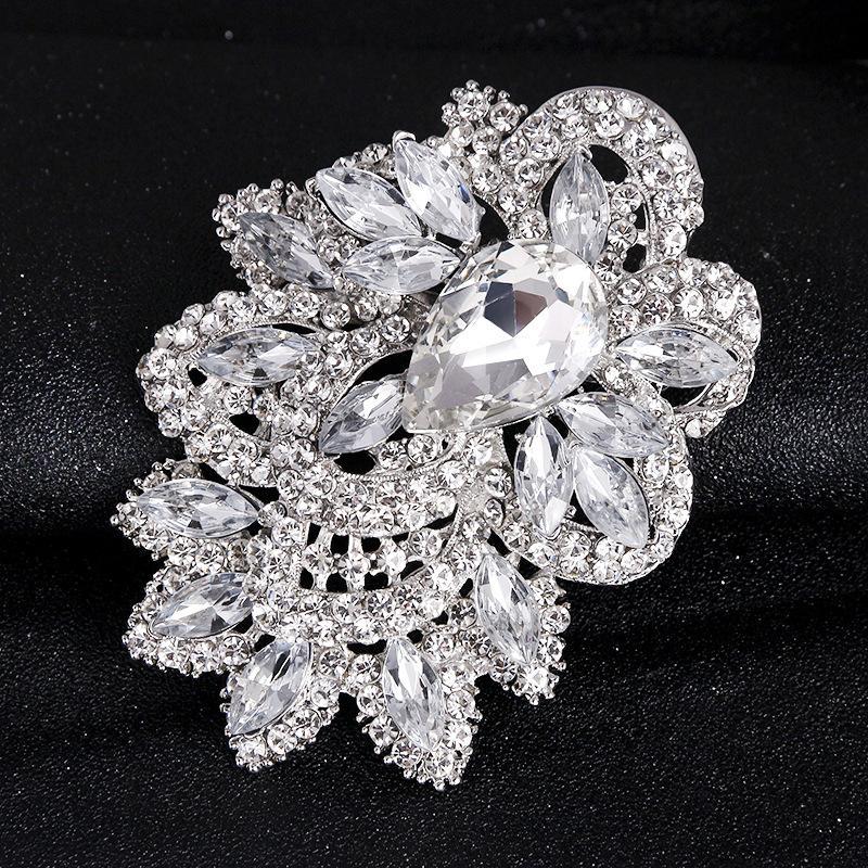 Ekstra geniş boyutlu lüks atmosferi tam elmas broş moda broş el çiçek pimi üreticisi perakende
