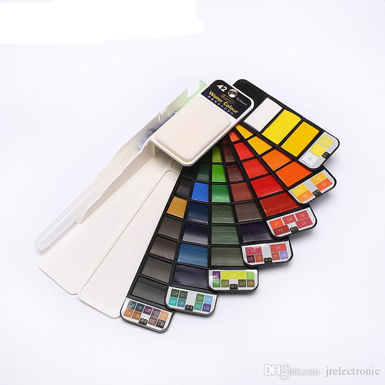 18 ~ 42 Renk guaj suluboya Katı Su Renk Boya Su Boya Fırçası Ile Set Taşınabilir Suluboya Pigment Sanatçı Sanat malzemeleri