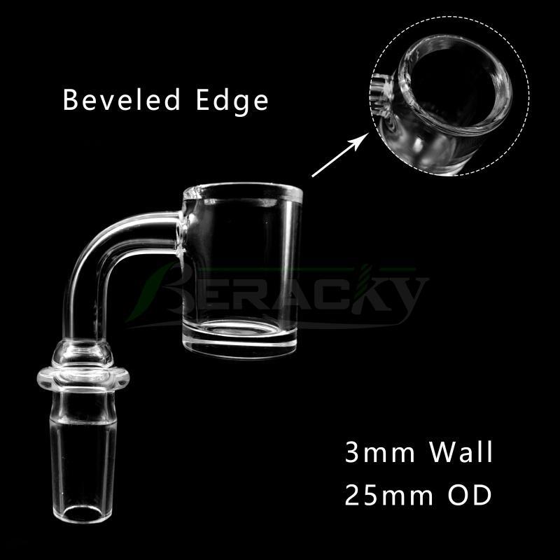 3mmWall 4mmBottom Beveled Edge Quartz Banger With New Joint Male Female 10mm 14mm 18mm 45/90 Degrees Quartz Nails for Glass Water Bong