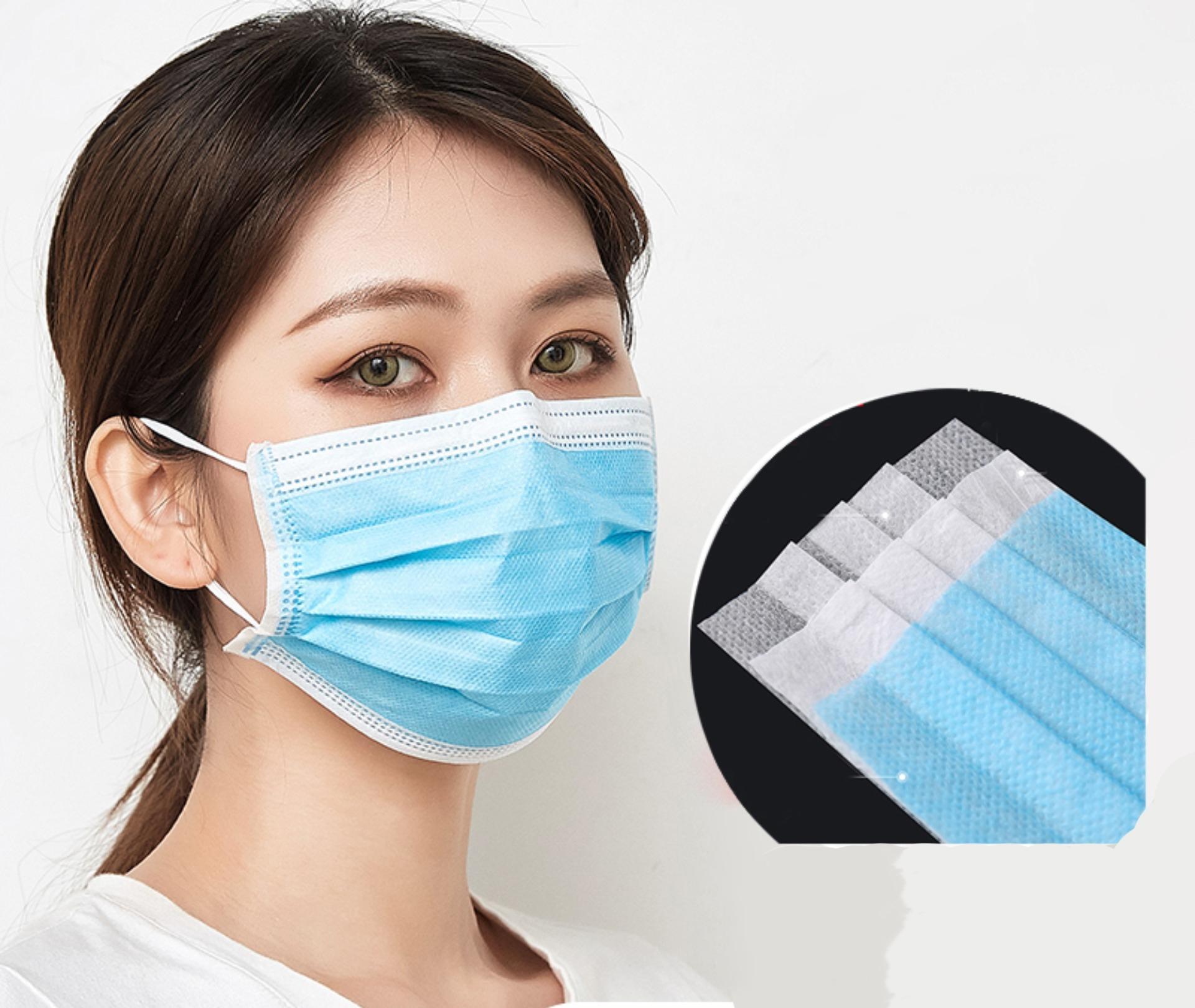 Nakliye ! 3 Katman Nefes Yüz Maskesi Toz Koruma Ağız Koruyucu önleyici Pm 2.5 y Maske kulak halkalarına Mavi # 215 Maske