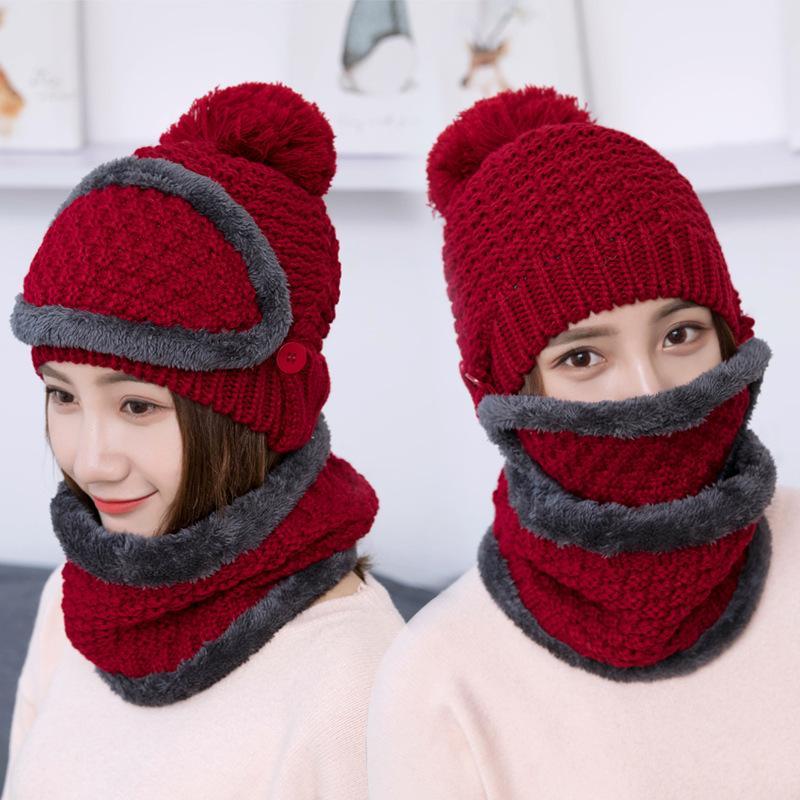 Mode Automne Caps Hat hiver de femme Tricoté chaud écharpe coupe-vent multifonctionnelles Chapeau Foulard Set Vêtements Accessoires Costume
