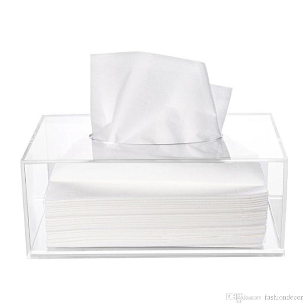 Simple Acrílico pequeña caja de pañuelos Maquillaje Crystal Pumping carton Organizer Case Clear Napkin carton Multifunción Display Box