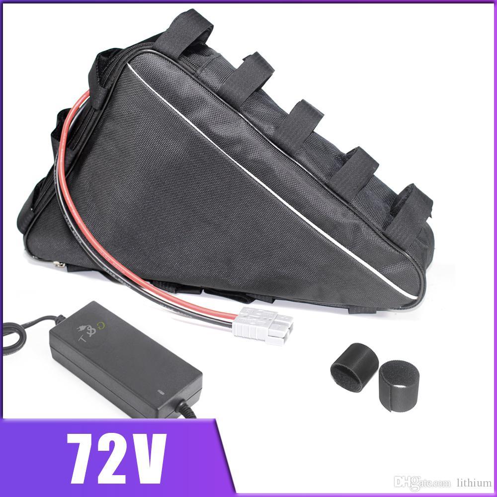 72V 3000W Dreieck Batterie 72V 20AH 30AH Panasonic Lithium-Batterie mit 60A BMS, 84V Ladegerät, Tasche elektrischen Fahrrad-Batteriesatz