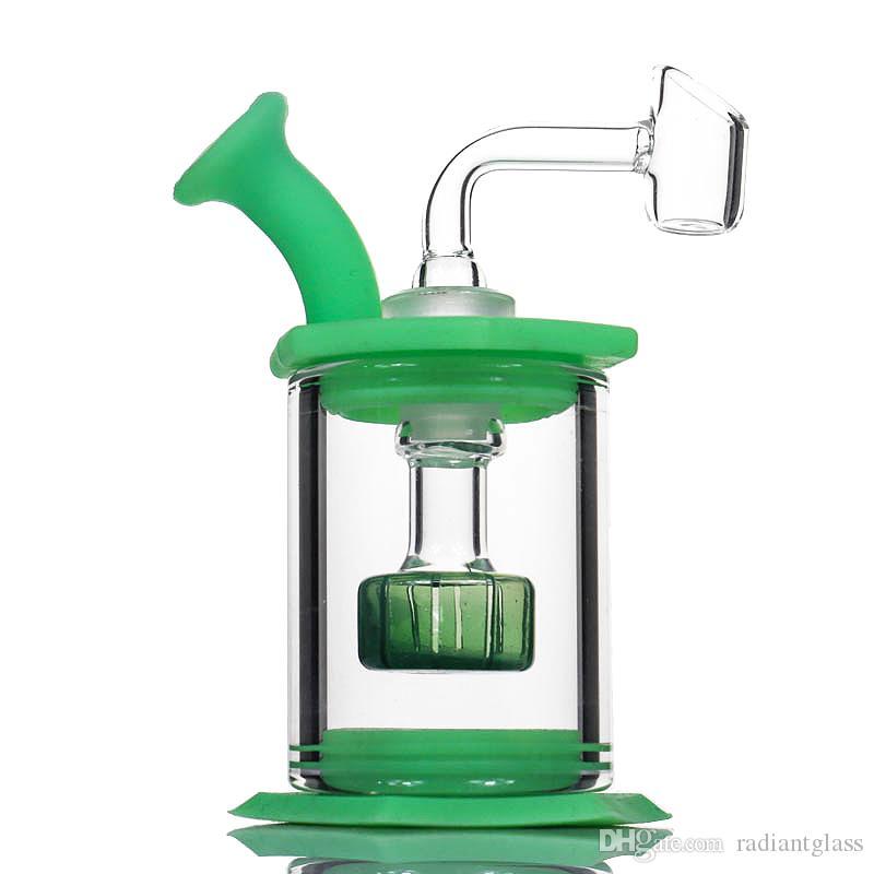 """4.5 """" assemblare silicone Bong vetro Soffione doccia percolator Easy clean Dab Rigs con 4mm quarzo banger tubo di silicone mini vetro bong"""