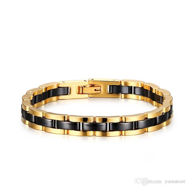 Classic Men Bracelets Ceramic Tungsten Carbide Stainless Steel Bracelet Two Tone Gold Plated Black Watch Link Luxury Bracelets For Men