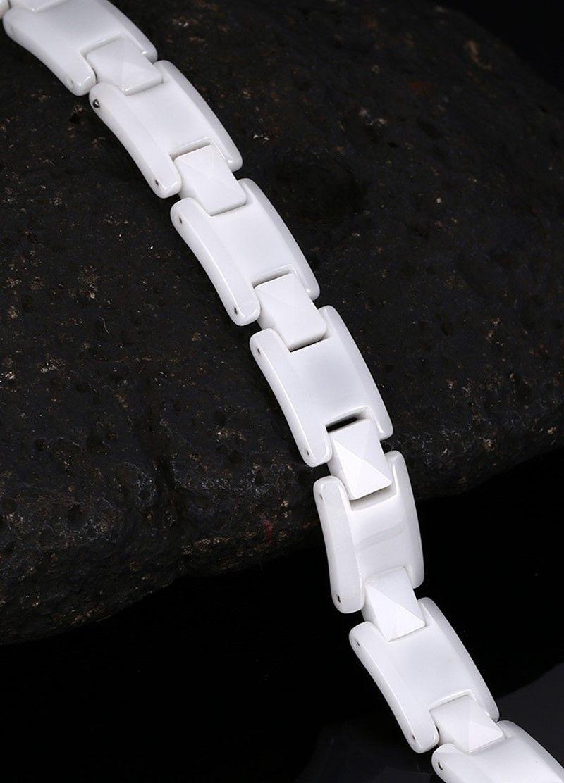 De calidad superior del color blanco de cerámica pulseras para las mujeres Negro hematita encanto femenino los brazaletes de las señoras