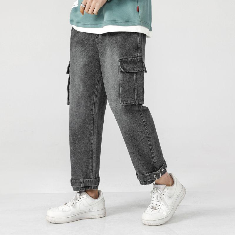 Kordelzug Gerade Jeans Herrenmode Gewaschen Retro Multi-pocket Tooling Jeans Männer Streetwear Lose Hip Hop Denim Hosen M-5XL
