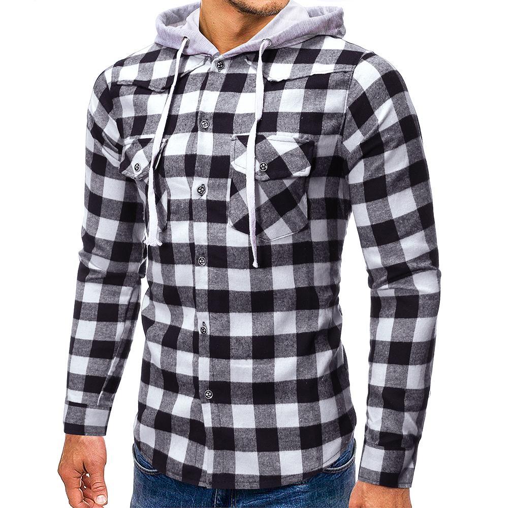 PUIMENTIUA Hippop hommes Plaid Vérifiez Hooded Boutons Blouse Chemise à manches longues Sweats à capuche Casual Slim Fit Blusas Tops Sweat-shirt 3XL
