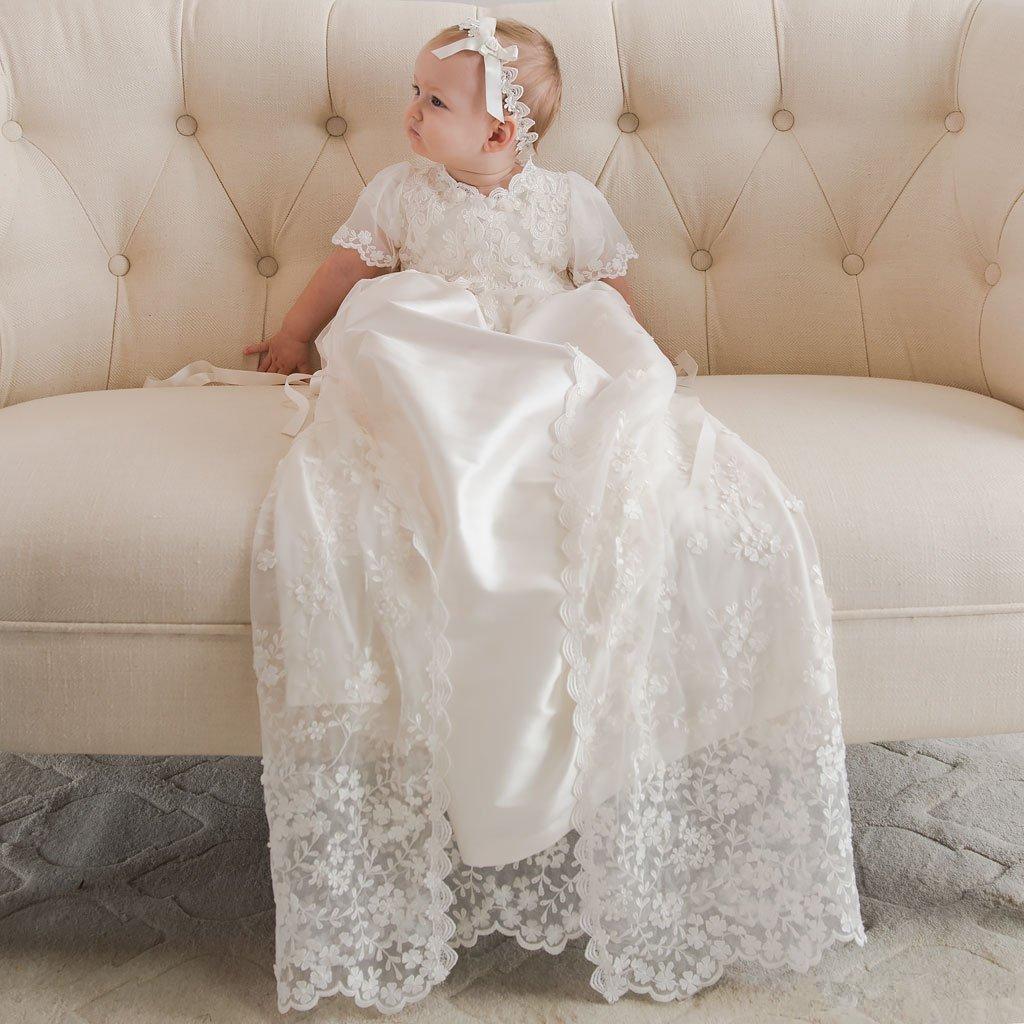 Vintage Çiçek Kız Elbise Sıcak Satış Yeni Robe Angela Batı Kız bebekler ilk komünyonu Elbise Dantel Vaftiz Vaftiz Önlük Özel