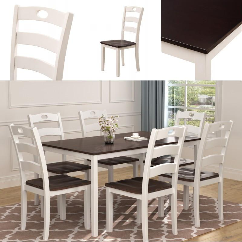2021 Pure White Dining Table Set For 6 Person Kitchen Wood Table Chairs White Espresso Fast Shipping In Stock From Greatfurnishing 578 9 Dhgate Com